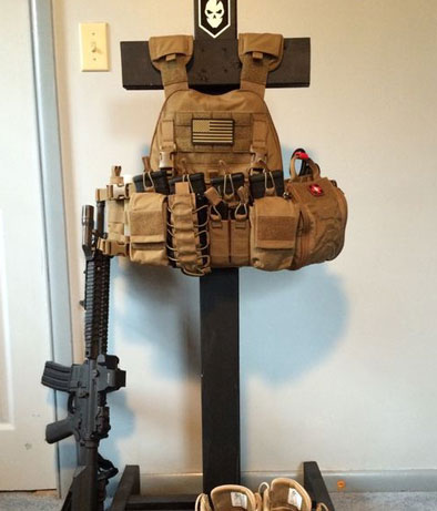 image of wooden stand for tactical gear
