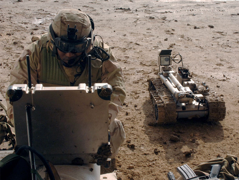 image of military robot inspecting a bomb
